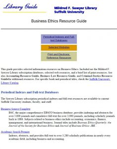 business-erthics-resources guide